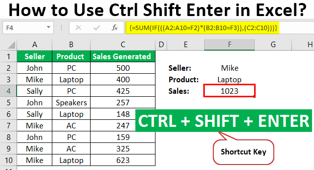 Ctrl Shift Enter in Excel