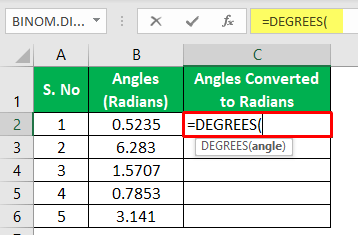 Degrees Function Excel - Example 1-2
