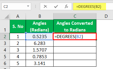 Degrees Function Excel - Example 1-3