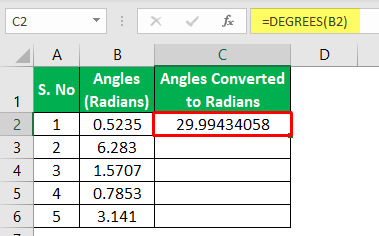 Degrees Function Excel - Example 1-4
