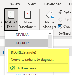 Degrees Function Excel - Example 2-3