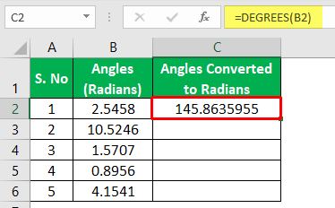 Degrees Function Excel - Example 2-6