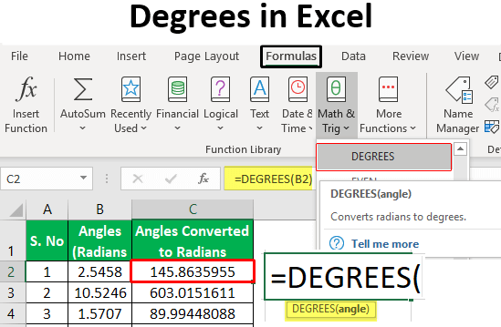 Degrees in Excel