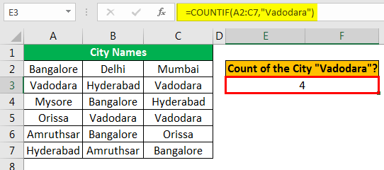 Excel COUNTIF Multiple Condition Example 1