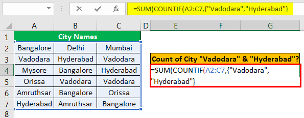 Excel COUNTIF Multiple Condition Example 3.1