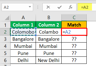 Excel Compare Two Columns - Example 1-1
