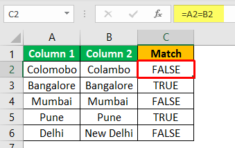 Excel Compare Two Columns - Example 1-3