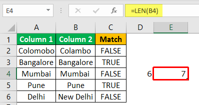 Excel Compare Two Columns - Example 1-4