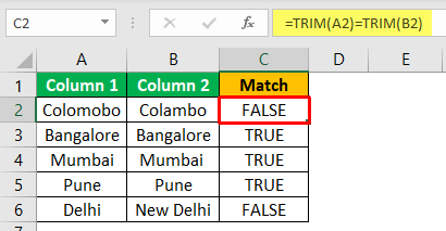 Excel Compare Two Columns - Example 1-5