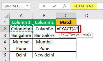 Excel Compare Two Columns - Example 2-1