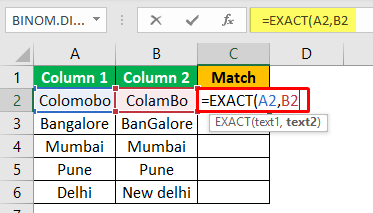 Excel Compare Two Columns - Example 2-2