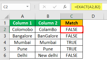 Excel Compare Two Columns - Example 2-3