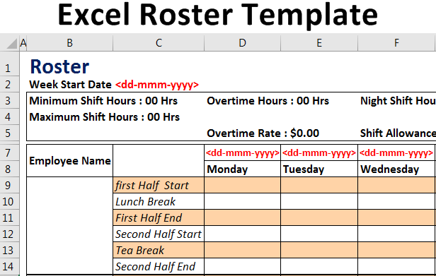 Excel-Roster-Template