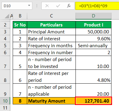 Fixed deposit rate of interest example 2 (Maturity Amount)