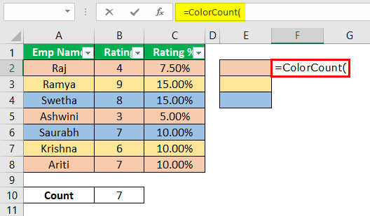 How to Count Cells with Color in Excel Example 1.12