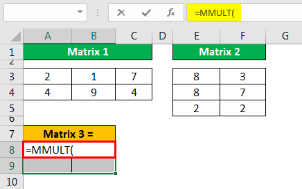 MMULT Excel - Example 1.3