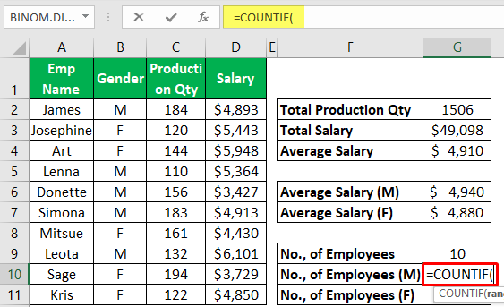 Excel Mathematical Function (Using Countif) 1