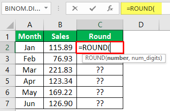 Excel Mathematical Function (Using Round) 1-1