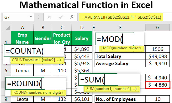 Mathematical Function in Excel
