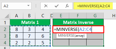 Minverse in Excel - Example 2-4