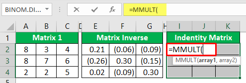 Minverse in Excel - Example 2-7