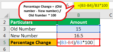 Percentage Change Formula Example 1.1