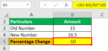 Percentage Change Formula Example 1.2