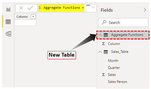 Power BI Aggregate - Aggregate Functions Table
