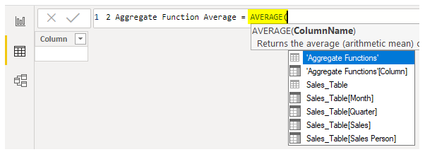 Power BI Aggregate - Average