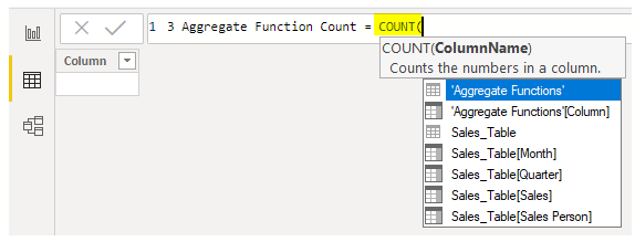 Power BI Aggregate - Count