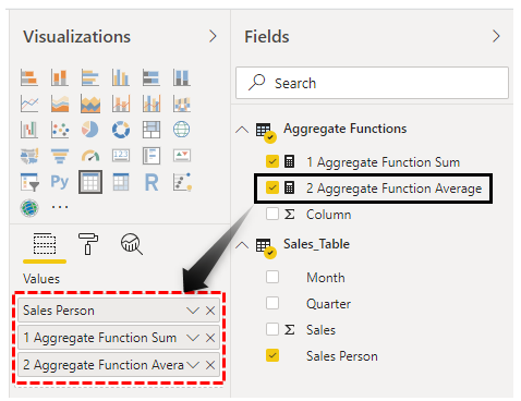 Power BI Aggregate - Drag Average Function