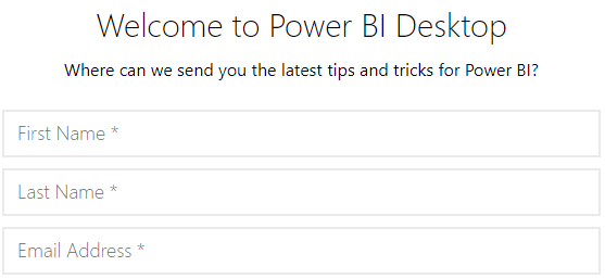 Power BI Desktop Install - Welcome Page