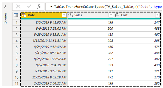 Power BI Query (Data preview)