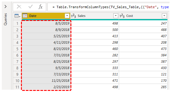 Power BI Query (Date Option)