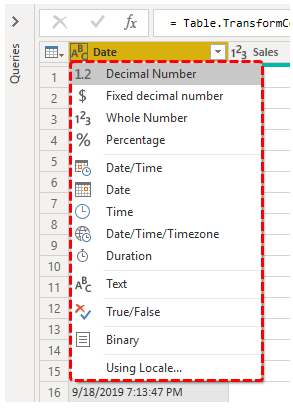 Power BI Query (Different formats)