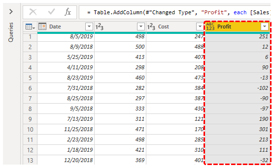Power BI Query (Profit Column)