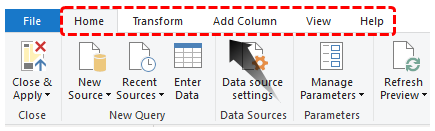 Power BI Query (Ribbon Tab)