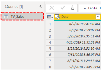 Power BI Query (Table Name)