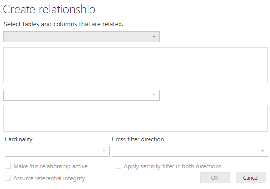 related dax function - Create Relationship Window