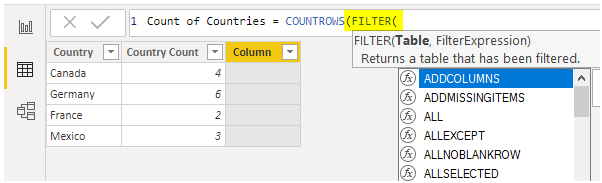 Count rows Filter