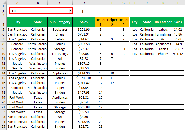 Search Box in Excel Example 1.20