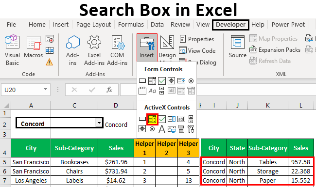 Search Box in Excel