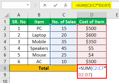 Ctrl Shift Enter in Excel Example 1.2