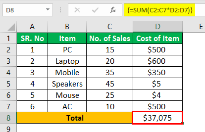 Ctrl Shift Enter in Excel Example 1.4