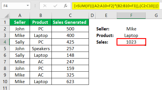 Ctrl Shift Enter in Excel Example 2.4
