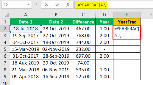 Subtract Date in Excel Example 1.10