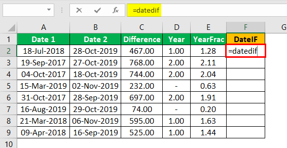 Subtract Date in Excel Example 1.16