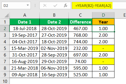 Subtract Date in Excel Example 1.17