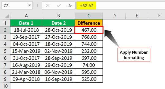 Subtract Date in Excel Example 1.2