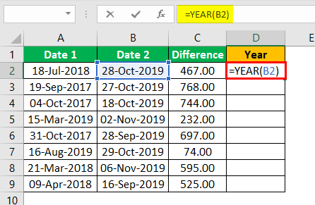 Subtract Date in Excel Example 1.4